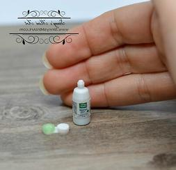 1:12 Dollhouse Miniature Contact Lens Solution and Lens Case