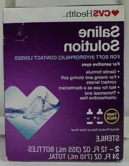 CVS Health Saline Solution Two 12 Fl Oz Bottles, 48OZ TOTAL