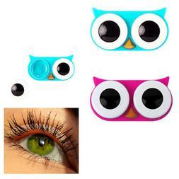 2 Pc Owl Eyes Contact Lens Case Travel Holder Storage Soluti