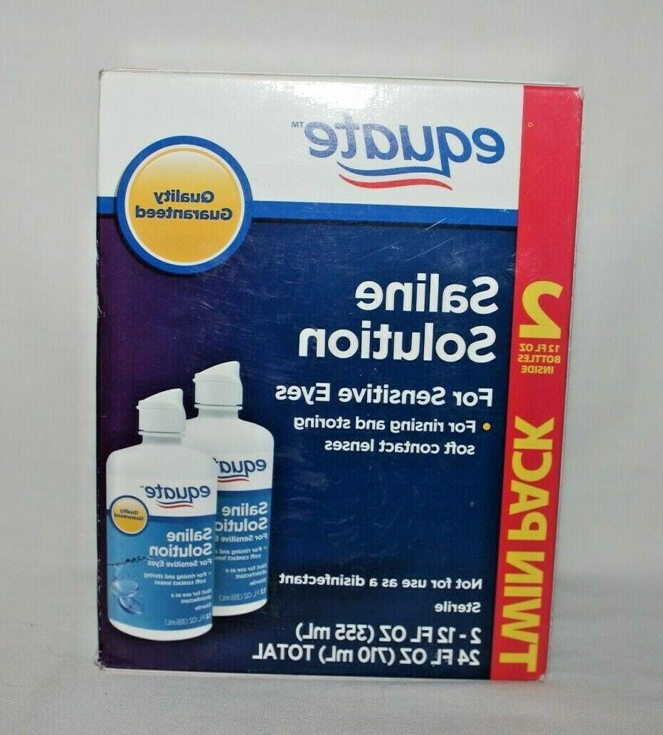 2 Twin Packs! Equate Contact Saline for Sensitive Eyes 12 fl oz