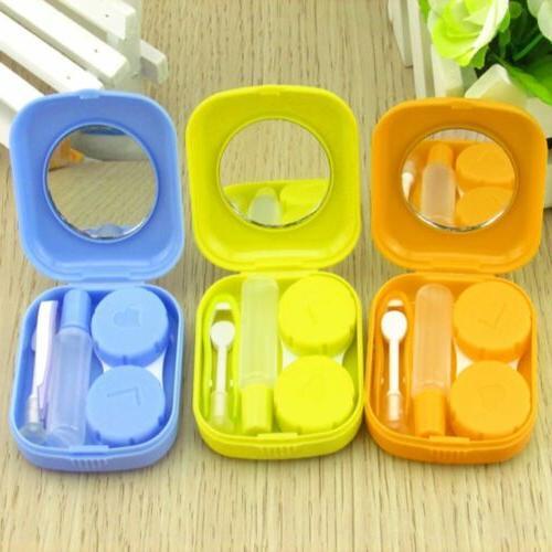 mini container mirror contact lens box storage